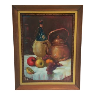 Vintage Still Life Painting on Canvas For Sale