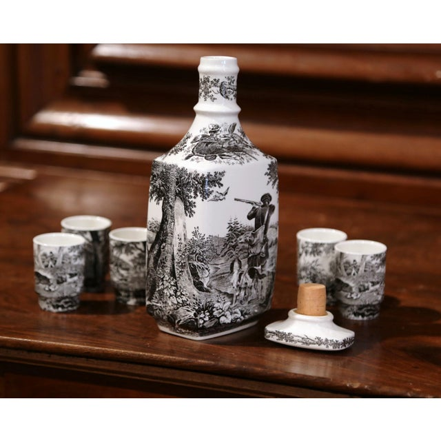Ceramic Mid-20th Century German Porcelain Painted Liquor Set from Villeroy & Boch For Sale - Image 7 of 10