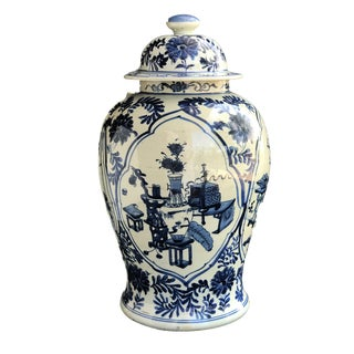 "Chinoiserie Chinese Lg Blue and White Porcelain Ginger Jar 19"" H For Sale"