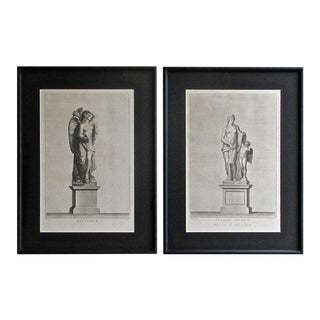 19th Century Antique Neoclassic Framed Prints - a Pair For Sale