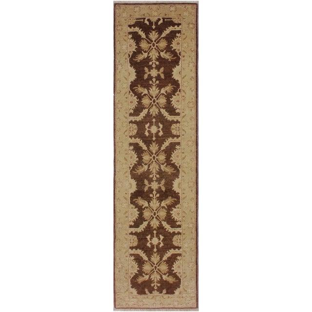 Brown 1990s Vintage Nobuko Brown/Tan Hand-Knotted Wool Rug - 2′6″ × 9′8″ For Sale - Image 8 of 8