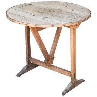 20th Century French Round Oak Folding Vineyard Table