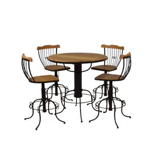 Rustic Reclaimed Peroba Wood Bistro Table & Chairs - Set of 5