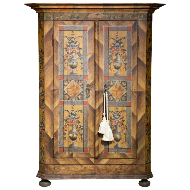 Scandinavian 19th Century Hand Painted Kas/Wardrobe Dated 1826 For Sale