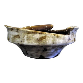 Mid-Century Modern Artisan Handcrafted White, Taupe & Bronze Bowl For Sale
