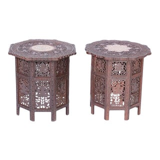 Antique Anglo Indian Carved and Inlaid End Tables - a Pair For Sale