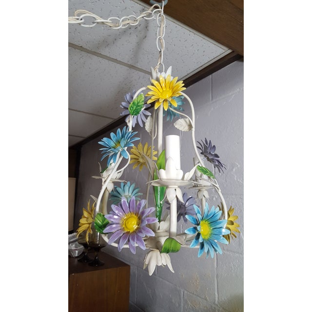 Metal 1970s Italian Floral Pastel Tole 3 Light Statement Chandelier For Sale - Image 7 of 8