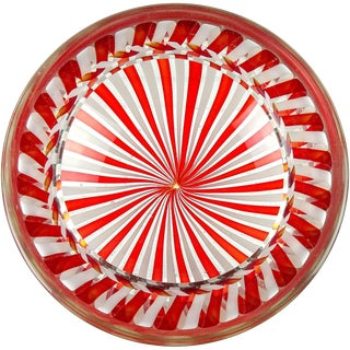Fratelli Toso Murano Red White Ribbons Italian Art Glass Decorative Bowl Dish For Sale