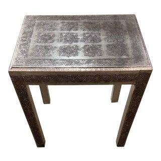 Vintage Foral Embossed Metal Clad Table For Sale