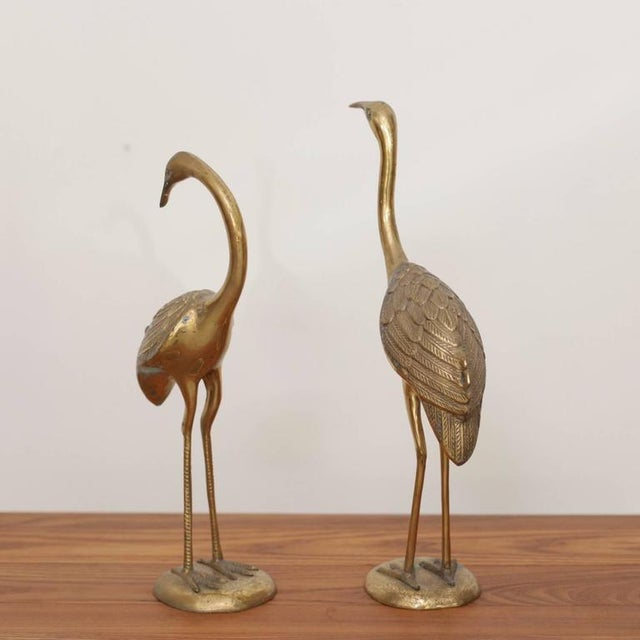Pair of Extraordinary Huge Brass Flamingos or Cranes For Sale - Image 4 of 5