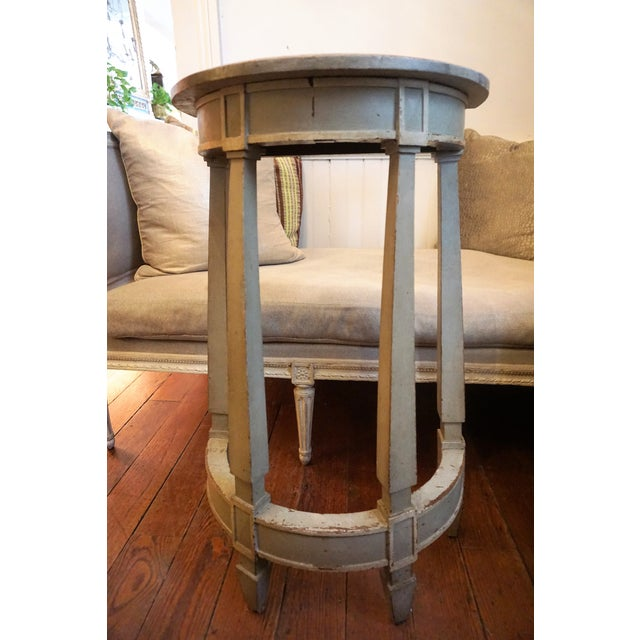 Wood 19th Century Petite Shabby Chic Gray Wood Console For Sale - Image 7 of 8