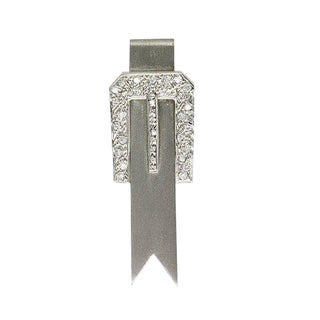 14k White Gold and Diamond Belt Buckle Ribbon Brooch For Sale