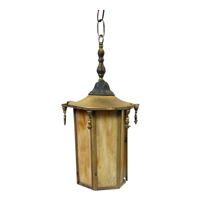 Orange Slag Glass & Brass Lantern For Sale