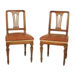1830 Italian Walnut Side Chairs - a Pair