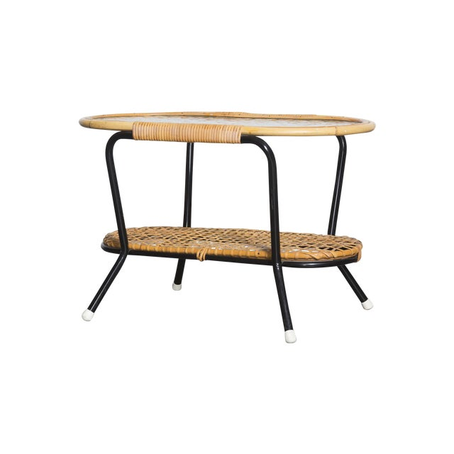 Pill Shaped Bamboo & Metal Side Table - Image 1 of 8