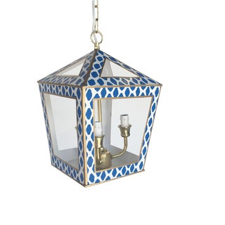 Contemporary Dana Gibson Navy Parsi Tucker White and Blue Steel Lantern For Sale