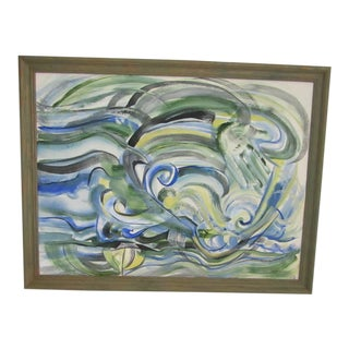 1970s Vintage Lane Stanley Abstract Watercolor Painting For Sale