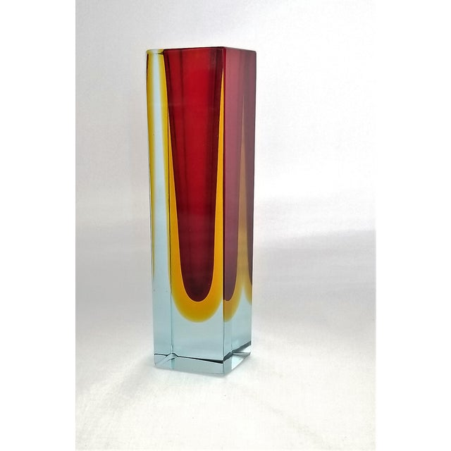 1970s Murano Blue Red and Yellow Glass Vase by Mandruzzato For Sale - Image 11 of 12