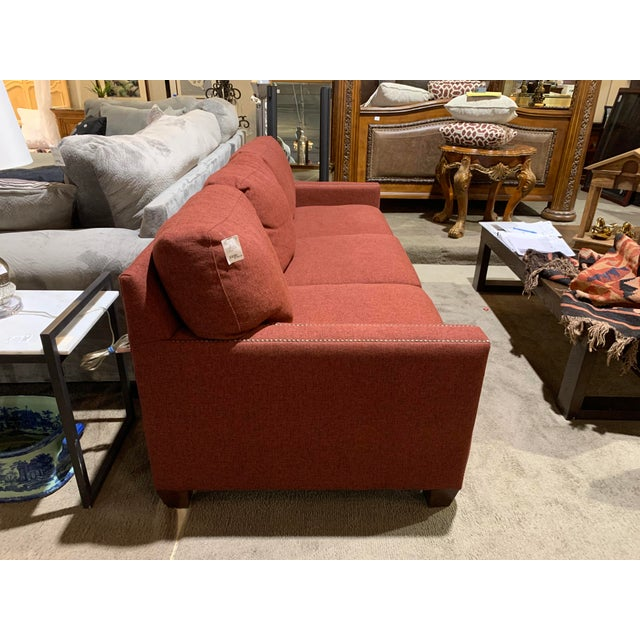 Traditional Bassett Furniture Crimson Sofa With Nail-Heads For Sale - Image 3 of 8