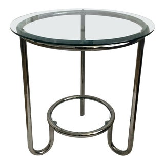 Art Deco Style Two-Tier Round Modern Tubular Chrome and Glass Side Table For Sale