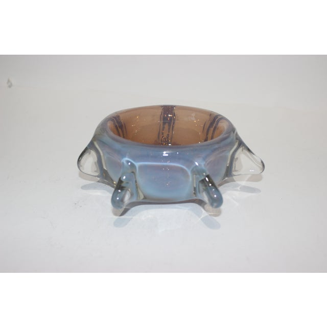 Murano Opaline Pinched Glass Bowl in Blue and Amber Tones Mid-Century Modern Italian 1960s For Sale - Image 10 of 10