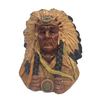 1970s Vintage Native American Chief Bust Tribal Elder Statue For Sale
