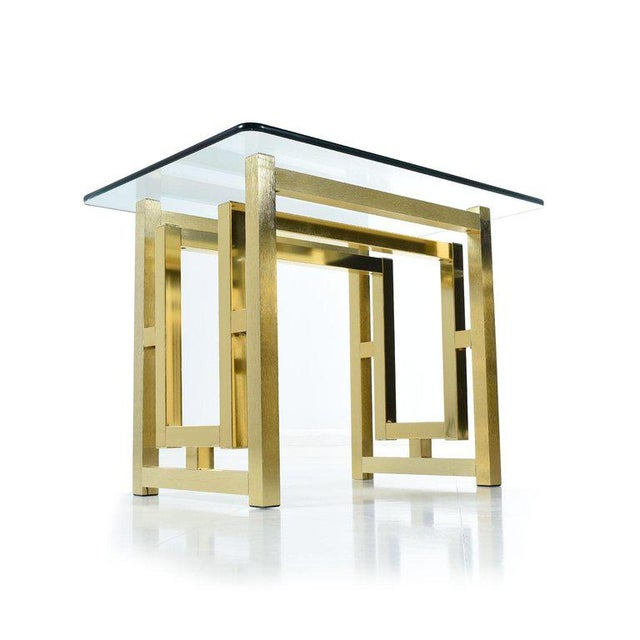 Hollywood Regency Pair of Hollywood Regency Mid-Century Modern Milo Baughman Gold Brass End Tables For Sale - Image 3 of 8