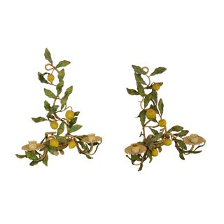 1950's Vintage Italian Tole Ware Lemon Tree Candle Wall Sconces For Sale