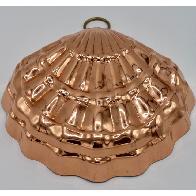 Large Mid-20th Century Copper Shell Mold with Brass Ring for hanging. Stunning kitchen decor!