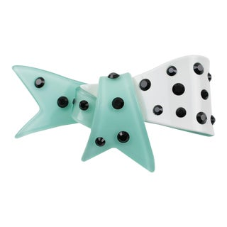 Christian Lacroix Turquoise Resin Bow Pin Brooch For Sale