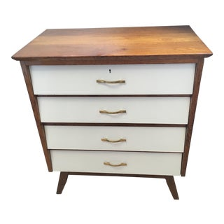 Mid-Century Modern White /Oak Chest of Drawers For Sale