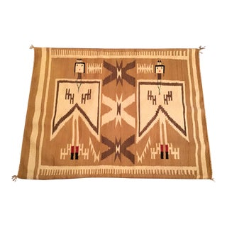 Pictorial Native American Navajo Flying Dragon Fly Yei Figure Rug Weaving For Sale