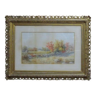 19th Century Size Framed Watercolor by American Painter Francis Wheaton For Sale