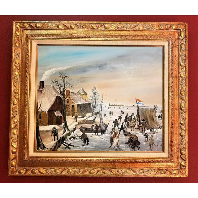 Dutch Ice Skating Oil Painting on Canvas by Van Buiksloot For Sale - Image 13 of 13