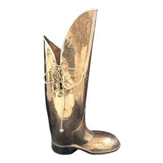 1960s Figurative Lombard Brass Boot Umbrella Stand For Sale