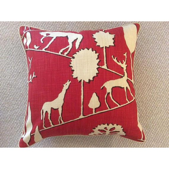 Boho Chic Jungle Walk in Cardinal Pillow Covers - a Pair For Sale - Image 3 of 5