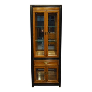 "Thomasville Furniture Embassy Collection Asian Inspired 28"" Illuminated Display Curio Cabinet For Sale"