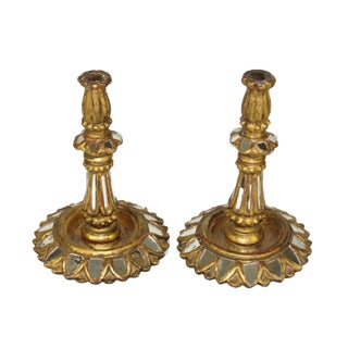 Spanish Colonial Mirrored Candlesticks - a Pair For Sale