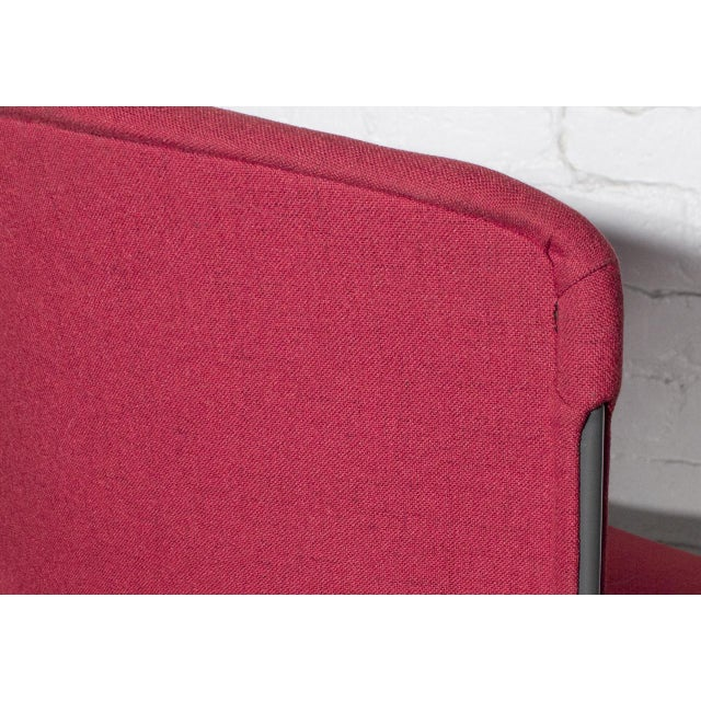 1980s Vintage Steelcase Modern Stackable Chair, Refinished in Red Micro Linen For Sale - Image 5 of 6