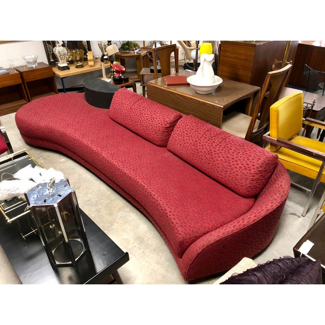 Red Vintage Mid Century Adrian Pearsall Curved Sofa For Sale - Image 8 of 8