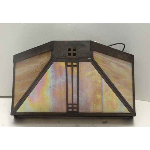 Arts & Crafts Stained Glass Sconce For Sale - Image 6 of 6
