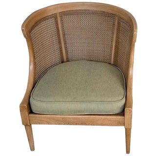 Midcentury Bleached and Caned Barrel Back Chair For Sale