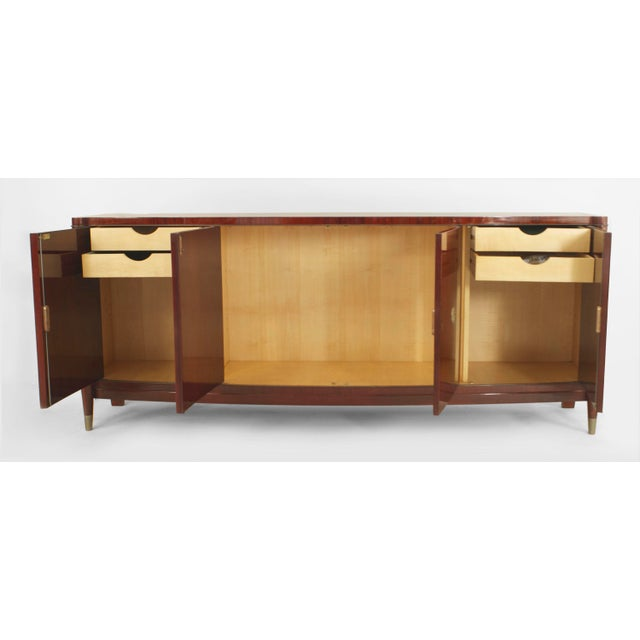 Belgium Art Deco 4 door mahogany bow front sideboard with patinated bronze details, sabots and 2 round medallions (1930's...