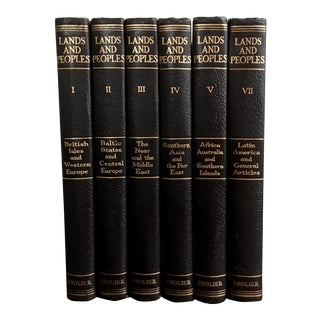 Mid Century Black Leather Bound Book Set (6) For Sale