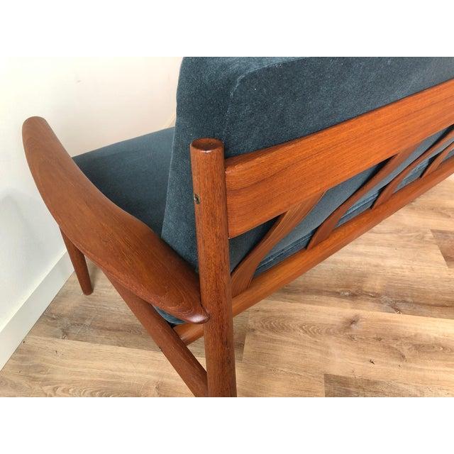 Vintage Grete Jalk for France & Sons Model 118 Reupholstered Teak Sofa For Sale - Image 10 of 11