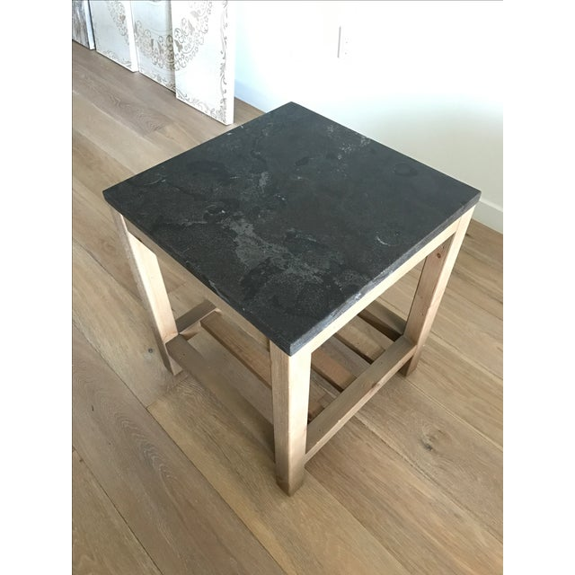 Pottery Barn Marble Top Reclaimed Wood Side Table Chairish - Pottery barn marble coffee table