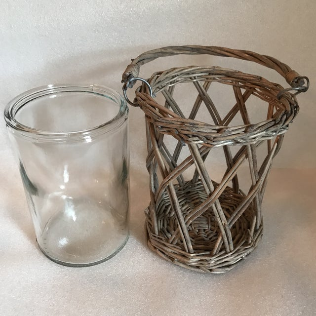 2010s Wicker and Glass Vase With Handle For Sale - Image 5 of 8
