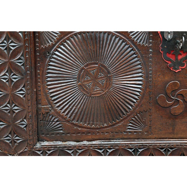 18th Century Carved Spanish Chest For Sale - Image 4 of 10