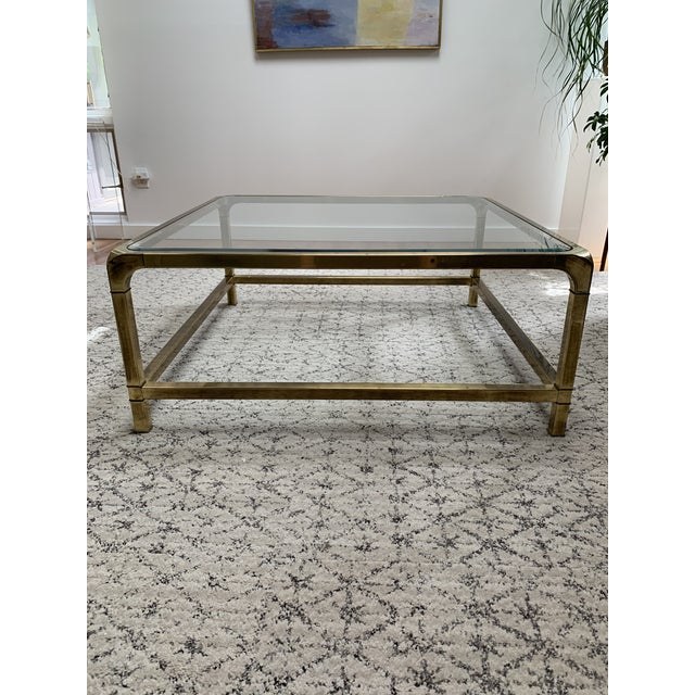 1970s Hollywood Regency Mastercraft Brass and Glass Square Cocktail Table For Sale - Image 10 of 13