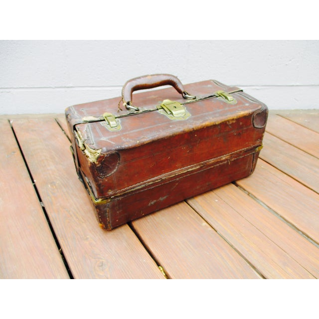 Antique Leather Fishing Tackle Box For Sale - Image 9 of 11